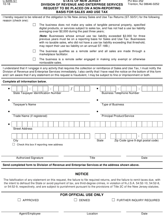 Form C-6205-ST  Printable Pdf