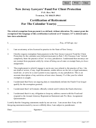 """Form CN:11620 """"Certification of Retirement"""" - New Jersey"""