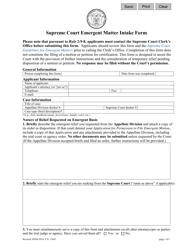 "Form 11641 ""Supreme Court Emergent Matter Intake Form"" - New Jersey"