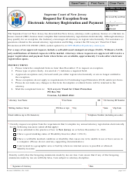 """Form CN:11933 """"Request for Exception From Electronic Attorney Registration and Payment"""" - New Jersey"""