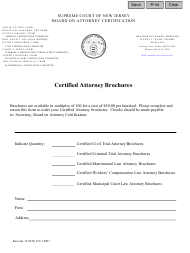 """Form CN:12001 """"Certified Attorney Brochures Order Form"""" - New Jersey"""