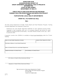 """Form PHSS-4 """"Signature Page, Acknowledging Receipt of Grant Agreement for Special Health Projects"""" - New Jersey"""