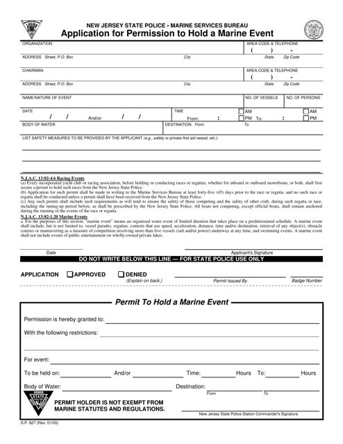 Form S.P.827  Printable Pdf