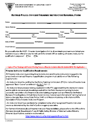 """Form S.P.316 """"Retired Police Officer Firearms Instructor Referral Form"""" - New Jersey"""