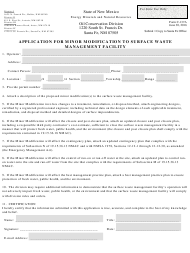 """Form C-137A """"Application for Minor Modification to Surface Waste Management Facility"""" - New Mexico"""