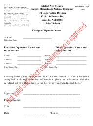 "Form C-146 ""Change of Operator Name"" - New Mexico"