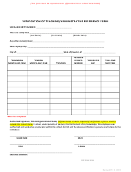 """Verification of Teaching/Administrative Experience Form"" - New Mexico"