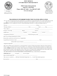 """Transfer of Ownership Inspection Waiver Application"" - New Mexico"