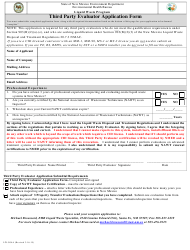 "Form LW-904A ""Third Party Evaluator Application Form"" - New Mexico"