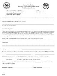 """""""Application for a Variance From the Requirements of the Liquid Waste Disposal and Treatment Regulations"""" - New Mexico"""
