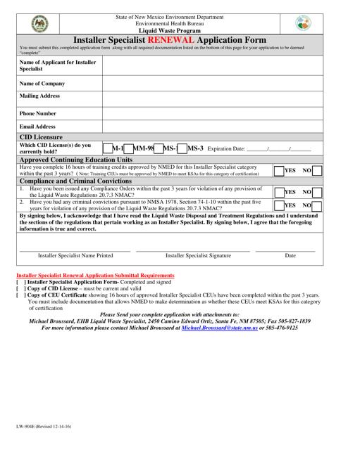 Form LW-904E  Printable Pdf