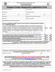 "Form LW904D ""Septage Pumper Registration Application Form"" - New Mexico"