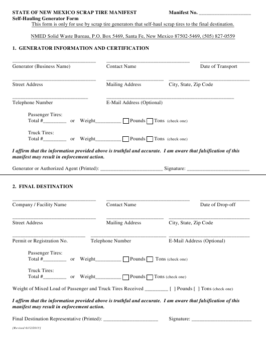 """State of New Mexico Scrap Tire Manifest Self-hauling Generator Form"" - New Mexico Download Pdf"