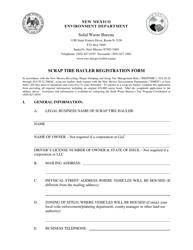 """""""Scrap Tire Hauler Registration Form"""" - New Mexico"""