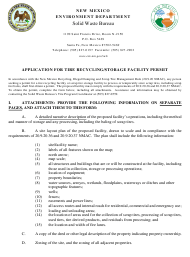 """""""Application for Tire Recycling/Storage Facility Permit"""" - New Mexico"""