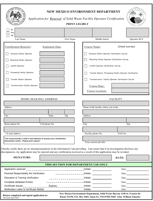"""Application for Renewal of Solid Waste Facility Operator Certification"" - New Mexico Download Pdf"