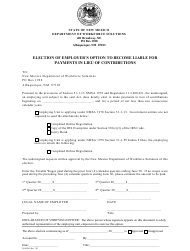 "Form ES-802O ""Election of Employer's Option to Become Liable for Payments in Lieu of Contributions"" - New Mexico"