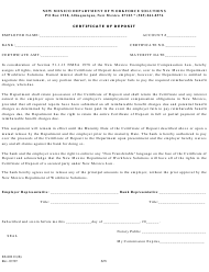 "Form ES-802 O(B) ""Certificate of Deposit"" - New Mexico"