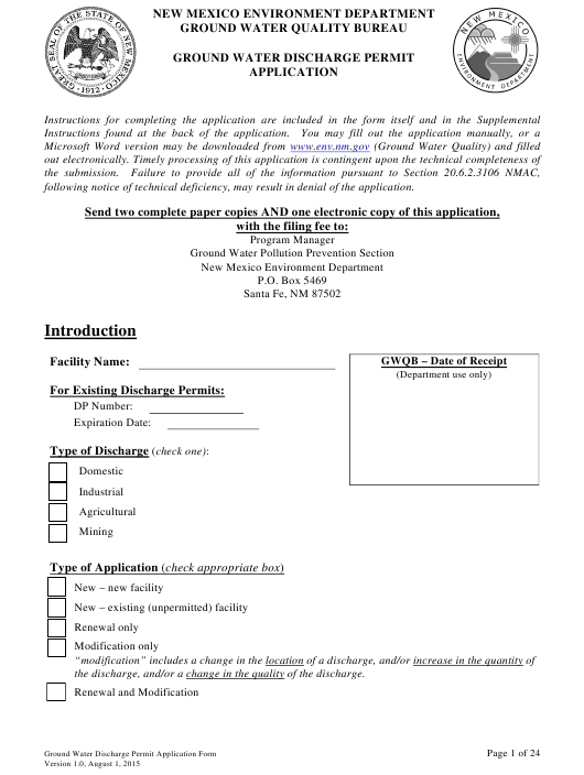"""""""Ground Water Discharge Permit Application"""" - New Mexico Download Pdf"""