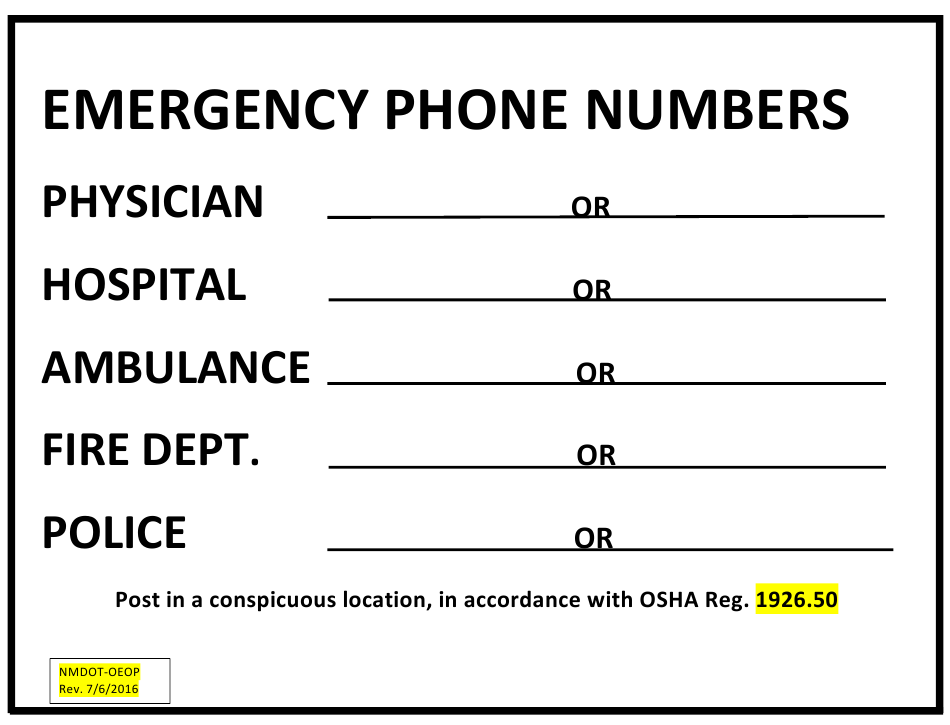 New Mexico Emergency Phone Numbers Download Printable PDF  Templateroller