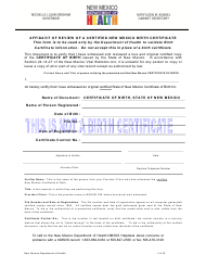 Affidavit of Review of a Certified New Mexico Birth Certificate - New Mexico