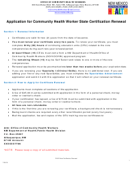 """""""Application for Community Health Worker State Certification Renewal"""" - New Mexico"""