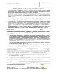 """Consentimento Para Servicios De Planificacion Familiar"" - New Mexico (Spanish)"