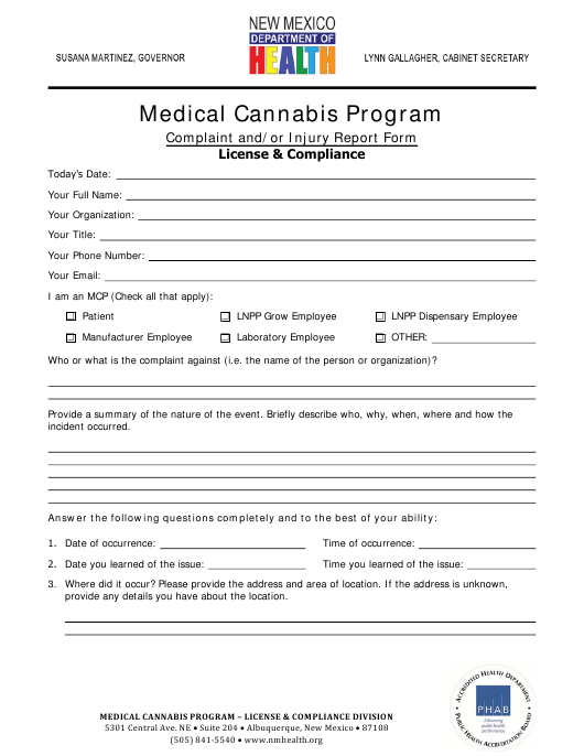 """Medical Cannabis Program Complaint and/or Injury Report Form"" - New Mexico Download Pdf"