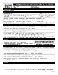 """Carbapenem-Resistant Enterobacteriaceae (Cre) Report Form"" - New Mexico"