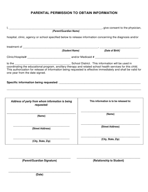 """Parental Permission to Obtain Information"" - New Mexico Download Pdf"