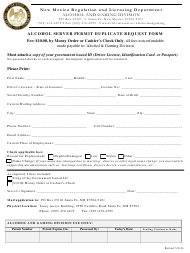 """Alcohol Server Permit Duplicate Request Form"" - New Mexico"
