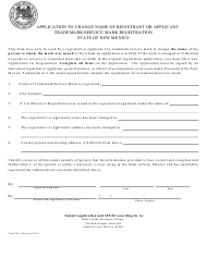 "Form TK3 ""Application to Change Name of Registrant or Applicant Trademark/Service Mark Registration"" - New Mexico"