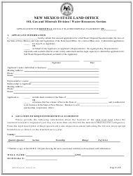 """Application for Renewal of Salt Water Disposal Easement"" - New Mexico"