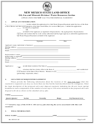 """Application for New Salt Water Disposal Easement"" - New Mexico"