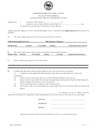 """Application for Water Rights Lease"" - New Mexico"