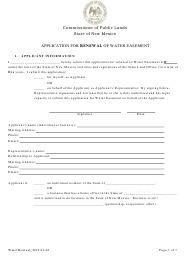 """""""Application for Renewal of Water Easement"""" - New Mexico"""