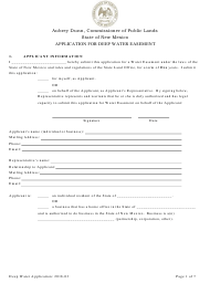 """Application for Deep Water Easement"" - New Mexico"
