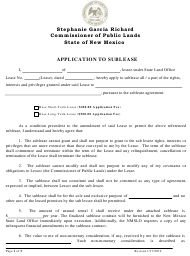 """Application to Sublease"" - New Mexico"