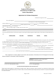 """Application for Collateral Assignment"" - New Mexico"
