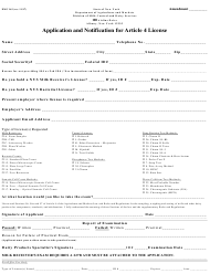 "Form DMC163 ""Application and Notification for Article 4 License"" - New York"
