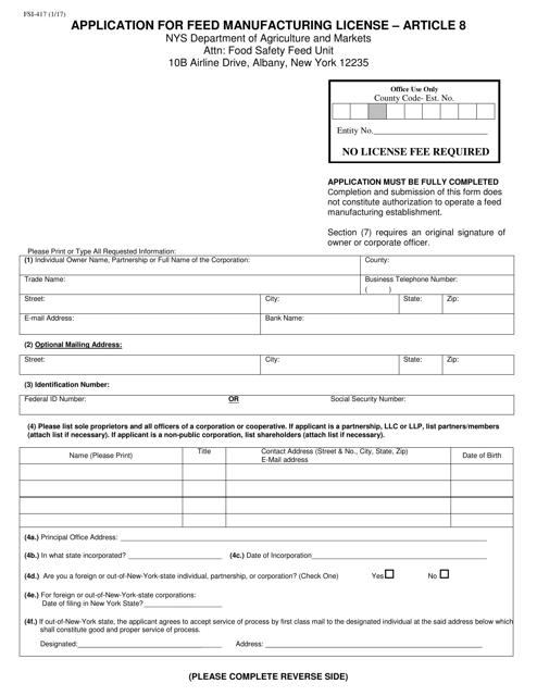 Form FSI-417  Printable Pdf