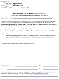 "Form AD-45B ""Farm Products Dealer Application Supplement"" - New York"
