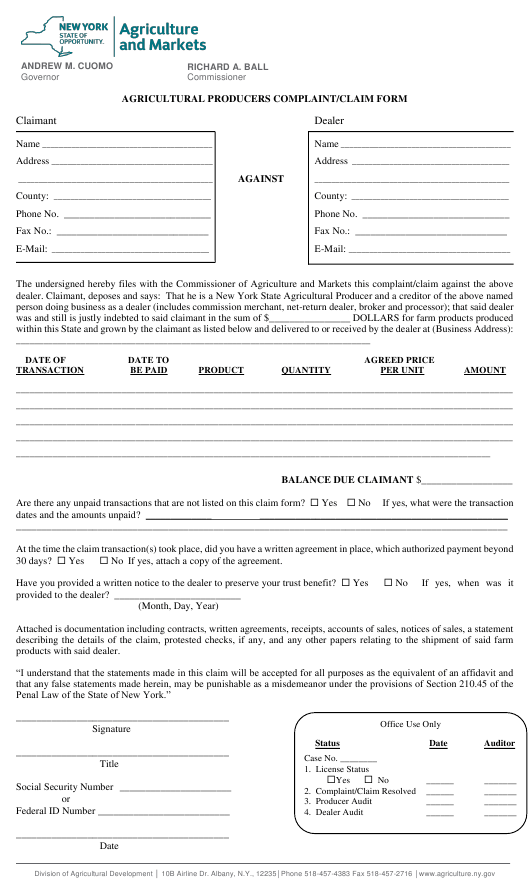 """""""Agricultural Producers Complaint/Claim Form"""" - New York Download Pdf"""