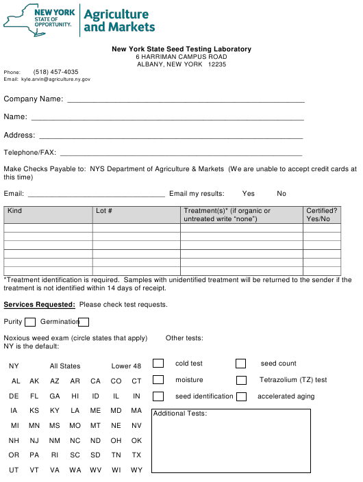 """""""Seed Testing Laboratory Submission Form"""" - New York Download Pdf"""