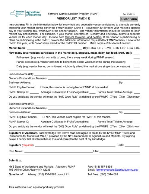 Form FMC-11  Printable Pdf