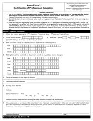 "Nurse Form 2 ""Certification of Professional Education"" - New York"