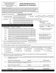 "Nurse Practitioner Form 1 ""Application for Certification"" - New York"