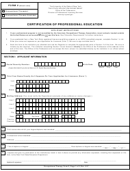 "Occupational Therapy Form 2 ""Certification of Professional Education"" - New York"