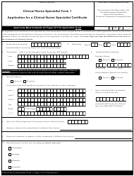 Clinical Nurse Specialist Form 1 Application for a Clinical Nurse Specialist Certificate - New York