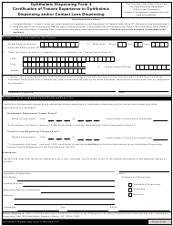 "Ophthalmic Dispensing Form 4 ""Certification of Trainee Experience in Ophthalmic Dispensing and/or Contact Lens Dispensing"" - New York"